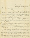 "Autographs:U.S. Presidents, Abraham Lincoln Historic Autograph Letter, two pages, 7.75"" x 9.75"", separate conjoined sheets. Executive Mansion, Washingto..."