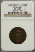 Colonials, 1787 COPPER New Jersey Copper, Small Planchet, Plain Shield XF45NGC....