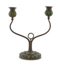 """Lighting:Candelabra, PROPERTY FROM A FLORIDA COLLECTION. TIFFANY STUDIOS. A Bronze and Favrile Glass Two-Light """"Jeweled"""" Candelabra, with blown..."""