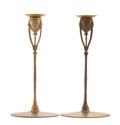 PROPERTY FROM A FLORIDA COLLECTION  TIFFANY STUDIOS A Pair of Gilt Bronze Candlesticks, model no. 1210, circ