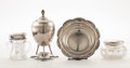 Silver Holloware, American:Other , PROPERTY FROM A FLORIDA COLLECTION. TIFFANY & CO. Four Silverand Cut Glass Items, early 20th century. Marks: TIFFANY &... (Total: 4 Items)