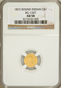 California Fractional Gold, 1872 $1 Indian Round 1 Dollar, BG-1207, R.4, AU58 NGC....