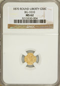 California Fractional Gold: , 1870 50C Liberty Round 50 Cents, BG-1010, R.3, MS62 NGC. NGCCensus: (8/9). PCGS Population (29/87). (#10839)...