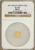 California Fractional Gold: , 1871 25C Liberty Round 25 Cents, BG-864, R.5, MS63 NGC. NGC Census:(2/1). PCGS Population (13/12). (#10725)...