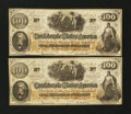 Confederate Notes:1862 Issues, CT-41/315 Counterfeit $100 1862 Two Consecutive Examples.. ...(Total: 2 notes)