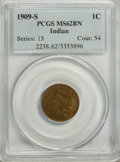 Indian Cents, 1909-S 1C MS62 Brown PCGS....
