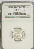 Seated Dimes, 1875-S 10C Mintmark Below Bow MS65 NGC....