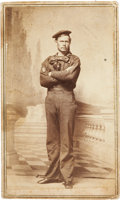 "Military & Patriotic:Civil War, Most Rare, Signed Carte de Visite Portrait of Boatswain's Mate John Stocking, ""The Unsung Hero of the Monitor.""..."
