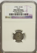 Early Half Dimes, 1794 H10C --Mount Removed--NGC. Fine Details....