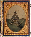 Military & Patriotic:Civil War, Wonderful Quarter Plate Tintype Portrait of George Chapman, Co. C, 122d New York Vol. Inf., Enjoying a Meal.... (Total: 2 Items)
