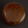 "Art Glass:Lalique, R. LALIQUE. ""Cleones"" An Amber Glass Box, Marcilhac no. 49,designed 1921. Marks: impressed R. LALIQUE. 7 inches (17.8c..."