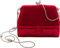 Estate Jewelry:Purses, Austrian Crystal, Red Satin, White Metal Evening Bag, JudithLeiber. ...