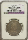 Early Half Dollars, 1795 50C 2 Leaves--Improperly Cleaned--NGC. VG Details....