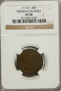 Colonials: , 1711-D 30DEN French Colonies 30 Deniers VF30 NGC. NGC Census:(1/3). PCGS Population (0/9). (#158686)...