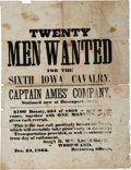 "Miscellaneous:Broadside, 1862 Broadside: ""Twenty Men Wanted for the Sixth Iowa Cavalry."" ..."