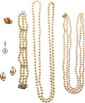 Estate Jewelry:Lots, Lot of Cultured Pearl, Multi-Gemstone, Gold Jewelry . ... (Total: 7Items)
