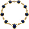 Estate Jewelry:Necklaces, Lapis Lazuli, Diamond, Platinum, Gold Necklace, David Webb. ...