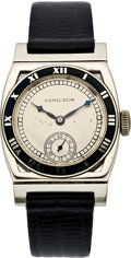 Timepieces:Wristwatch, Hamilton Men's White Gold Piping Rock Wristwatch, circa 1935. ...