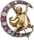 Estate Jewelry:Brooches - Pins, Victorian Diamond, Ruby, Silver-Topped Gold Brooch. ...
