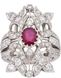 Estate Jewelry:Rings, Ruby, Diamond, White Gold Ring . ...