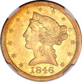 Liberty Half Eagles, 1846-O $5 AU55 NGC....