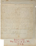 "Autographs:Military Figures, Union POW's Letter Signed ""Your Son Warren"" at Danville Confederate Prison. ..."