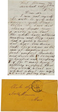 """Autographs:Military Figures, Union Soldier's Letter by Private Eldridge S. Pond of Co. """"D"""", Massachusetts 40th Infantry. ..."""