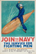 Military & Patriotic:WWI, Great World War I Navy 1917 Recruiting Poster....
