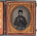 Military & Patriotic:Civil War, Early War Sixth Plate Soft Emulsion Tintype of a Young FederalFifer....