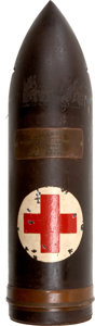 Military & Patriotic:WWI, American Red Cross WWI Artillery Shell Donation Display....