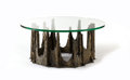 "Furniture : American, PAUL EVANS. A Bronze and Glass ""Stalagmite"" Cocktail Table, circa 1970s. Marks: inscribed PE. 16-1/4 x 36 x 36 inches (4... (Total: 2 Items)"
