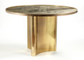 "Furniture , PHILIP AND KELVIN LAVERNE. A Patinated Bronze ""Chan"" Table, circa 1960s. Signed lower center: Philip + Kelvin LaVerne. 2... (Total: 2 Items)"