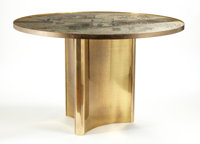 "PHILIP AND KELVIN LAVERNE A Patinated Bronze ""Chan"" Table, circa 1960s Signed lower center: Philip + Kelvin..."