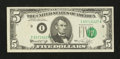 Error Notes:Shifted Third Printing, Fr. 1973-I $5 1974 Federal Reserve Note. Very Fine-Extremely Fine.. ...