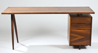 PROPERTY OF A PENNSYLVANIA FAMILY  GEORGE NAKASHIMA A Walnut Single-Pedestal Desk, circa 1960s 28-3/4 x 6