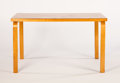 Furniture , ALVAR AALTO FOR FINMAR. A Rectangular Laminated Birch Table, model no. 81. Marks: bearing Finmar label. 48 x 30 x 27-1/2...
