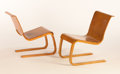 Furniture : Continental, ALVAR AALTO FOR FINMAR. A Pair of Laminated Birch Chairs, model no.21, low version, designed 1931-1932. Marks: one bearing ...