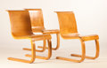 Furniture : Continental, ALVAR AALTO FOR FINMAR. Three Laminated Birch Cantilevered Chairs,model no. 21, circa 1930-1932. Marks: one bearing Fin...