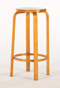 Furniture : Continental, ALVAR AALTO. A Laminated Birch High Stool with Foot Rest, model no.64, circa 1931-1932. 31 x 13-1/2 inches (78.7 x 34.3 cm)...