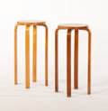 Furniture : Continental, ALVAR AALTO FOR FINMAR. Four Laminated Birch Stools, model no. 63,two circa 1930s and two circa 1950s. Marks: two beari...