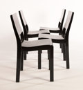 Furniture , ALVAR AALTO FOR FINMAR. Four Black-Painted Laminated Birch Chairs, model no. 11, circa 1930s. Marks: three bearing Finma...