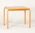 Furniture , ALVAR AALTO FOR FINMAR. A Square Laminated Birch Table. Marks: bearing Finmar label. 27 x 30 x 30 inches (68.6 x 76.2 x ...
