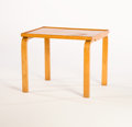 Furniture : Continental, ALVAR AALTO. A Small Rectangular Laminated Birch Table. 19 x 23-1/2x 18 inches (48.3 x 59.7 x 45.7 cm). ...