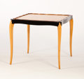 Furniture : French, MAURICE DUFRÊNE. A Wood Table, circa 1930. 28-1/2 x 32 x 31 inches(72.4 x 81.3 x 78.7 cm). ...