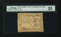 Continental Currency November 2, 1776 $3 PMG Choice Very Fine 35
