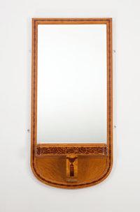 Attributed to HENRI RAPIN An Exotic Wood Inlaid Ash Mirror, circa 1925 46 x 22 inches (116.8 x 55.9 cm)