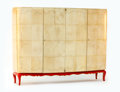 Furniture , EZIO RAVI. A Red-Lacquered and Parchment Armoire with gilt details, circa 1935. 72 x 92 x 24 inches (182.9 x 233.7 x 61.0 cm...