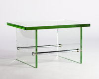 Attributed to FONTANA ARTE A Glass and Nickel Table, circa 1930 17 x 29-1/2 x 24 inches (43.2 x 74.9 x 61.0 cm)