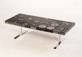 Furniture : Continental, AN ITALIAN MARBLE MOSAIC SOFA TABLE. Circa 1960s. 18 x 5 x 2 inches(45.7 x 12.7 x 5.1 cm). ...