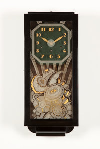 GAETAN JEANNIN A Black Chinese Lacquered and Glass Clock, circa 1925 Marks: monogram signature to glass plaque<...